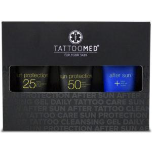TattooMed total sun care er laget for tatoveringer og inneholder alt du trenger for god solbeskyttelse og after sun